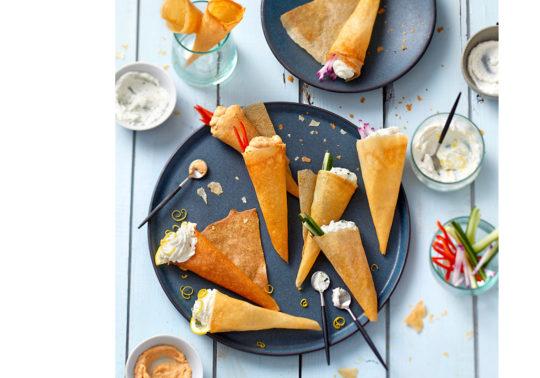 Cornets de Brandade de morue, Photographie culinaire Pauline Daniel pour Coudène, stylisme culinaire Annelyse Chardon