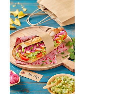 Sandwich mexicain, Photographie culinaire Pauline Daniel pour Florette Food service, stylisme culinaire Pauline Daniel