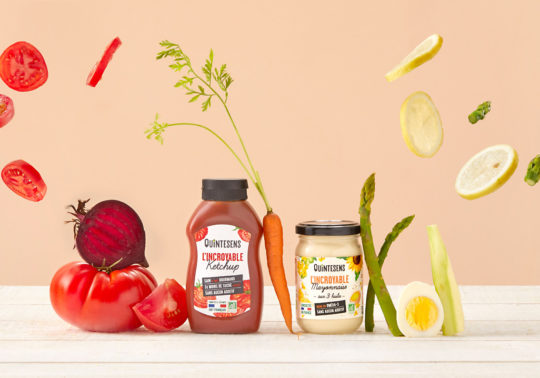 Création mise en scène des packs de la marque bio Quintessens, Photographie culinaire Pauline Daniel, stylisme culinaire Pauline Daniel
